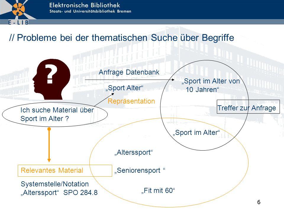 6 // Probleme bei der thematischen Suche über Begriffe Anfrage Datenbank Sport Alter Relevantes Material Alterssport Seniorensport Fit mit 60 Ich such