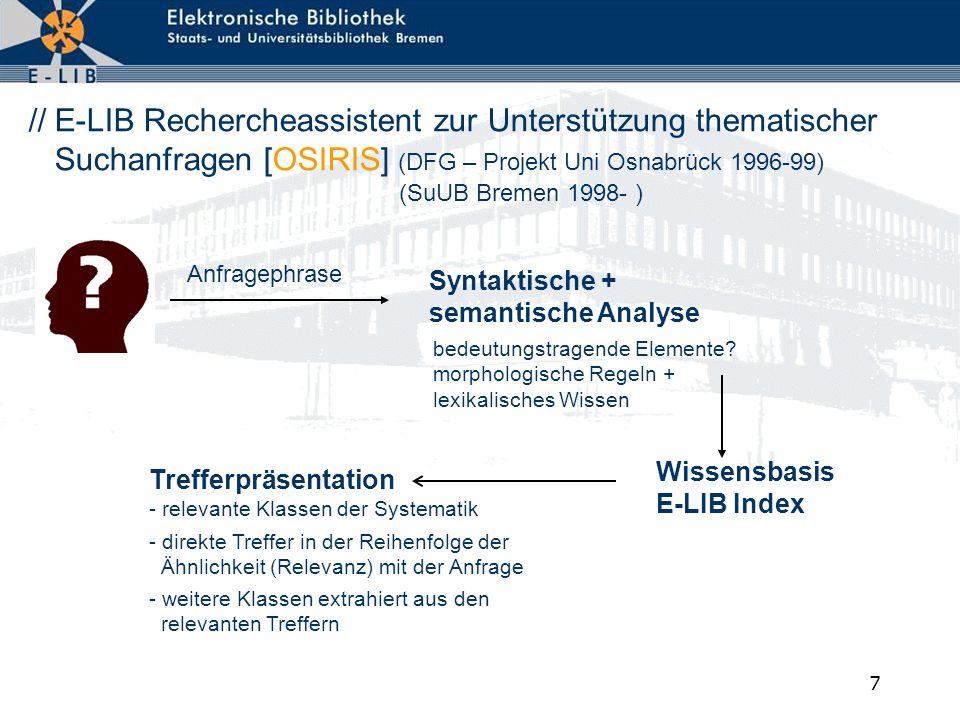 7 // E-LIB Rechercheassistent zur Unterstützung thematischer Suchanfragen [OSIRIS] (DFG – Projekt Uni Osnabrück 1996-99) Syntaktische + semantische An
