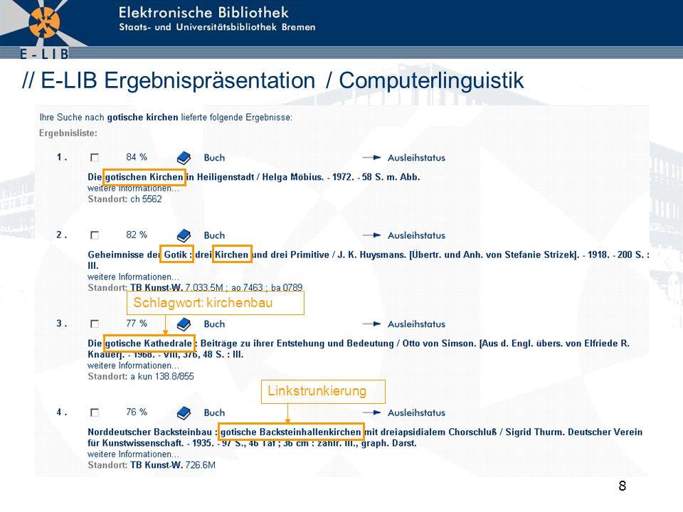 9 // E-LIB Ergebnispräsentation / Systemstellen SWIRegistereintrag im SWI
