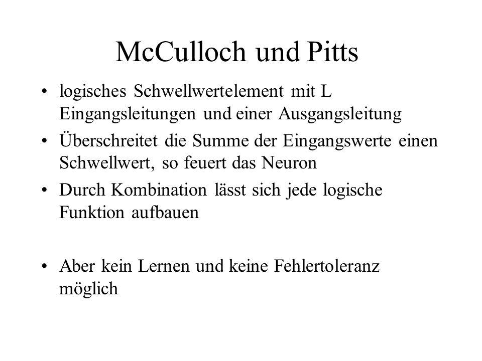 McCulloch und Pitts logisches Schwellwertelement mit L Eingangsleitungen und einer Ausgangsleitung Überschreitet die Summe der Eingangswerte einen Sch