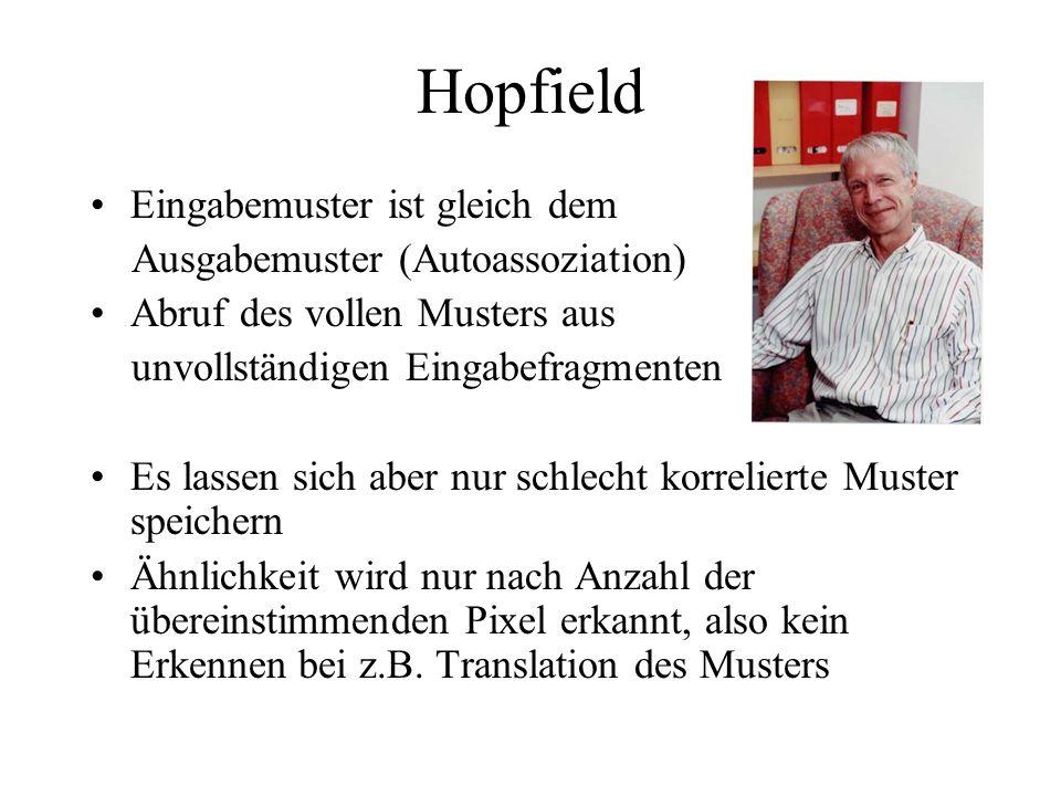 Hopfield Eingabemuster ist gleich dem Ausgabemuster (Autoassoziation) Abruf des vollen Musters aus unvollständigen Eingabefragmenten Es lassen sich ab