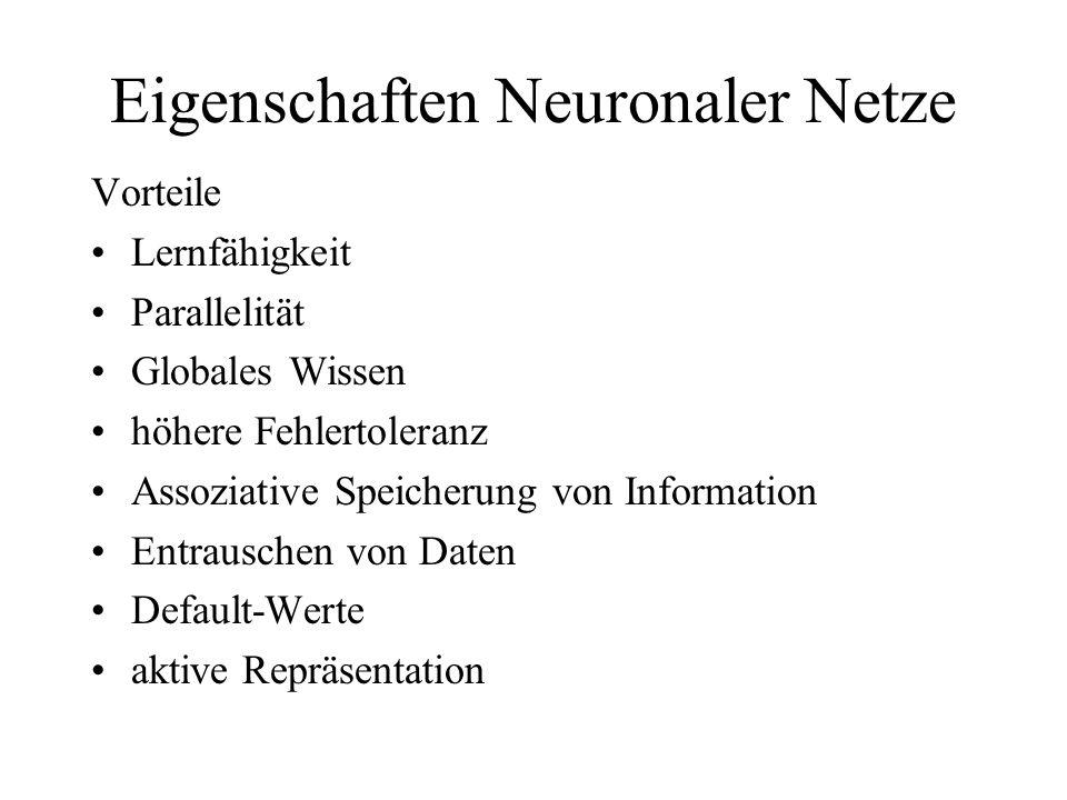 Eigenschaften Neuronaler Netze Vorteile Lernfähigkeit Parallelität Globales Wissen höhere Fehlertoleranz Assoziative Speicherung von Information Entra