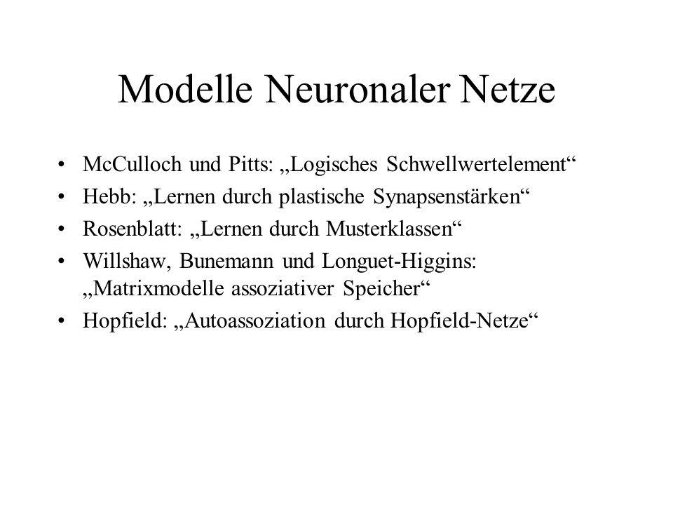 Modelle Neuronaler Netze McCulloch und Pitts: Logisches Schwellwertelement Hebb: Lernen durch plastische Synapsenstärken Rosenblatt: Lernen durch Must