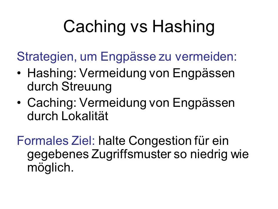 Caching vs Hashing Strategien, um Engpässe zu vermeiden: Hashing: Vermeidung von Engpässen durch Streuung Caching: Vermeidung von Engpässen durch Lokalität Formales Ziel: halte Congestion für ein gegebenes Zugriffsmuster so niedrig wie möglich.