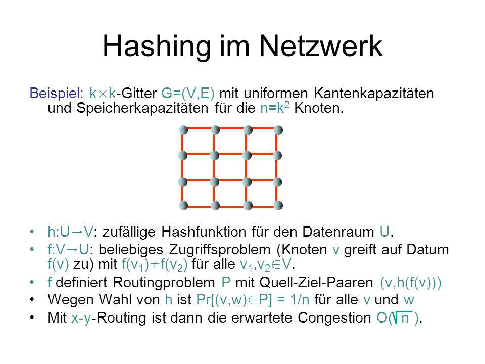 Hashing im Netzwerk Beispiel: k × k-Gitter G=(V,E) mit uniformen Kantenkapazitäten und Speicherkapazitäten für die n=k 2 Knoten. h:U V: zufällige Hash