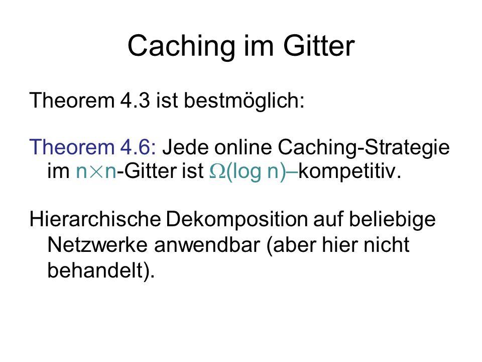 Caching im Gitter Theorem 4.3 ist bestmöglich: Theorem 4.6: Jede online Caching-Strategie im n × n-Gitter ist (log n)–kompetitiv. Hierarchische Dekomp