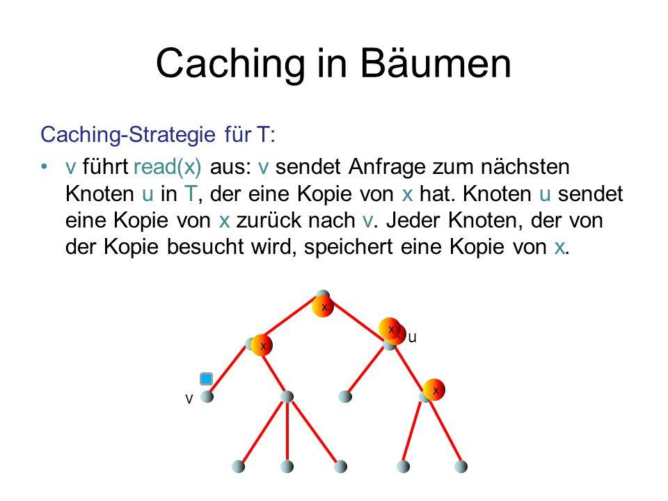 Caching in Bäumen Caching-Strategie für T: v führt read(x) aus: v sendet Anfrage zum nächsten Knoten u in T, der eine Kopie von x hat. Knoten u sendet