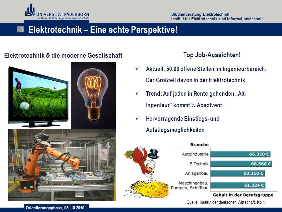 Orientierungsphase, 05. 10.2010 Studienberatung Elektrotechnik Institut für Elektrotechnik und Informationstechnik Elektrotechnik – Eine echte Perspek