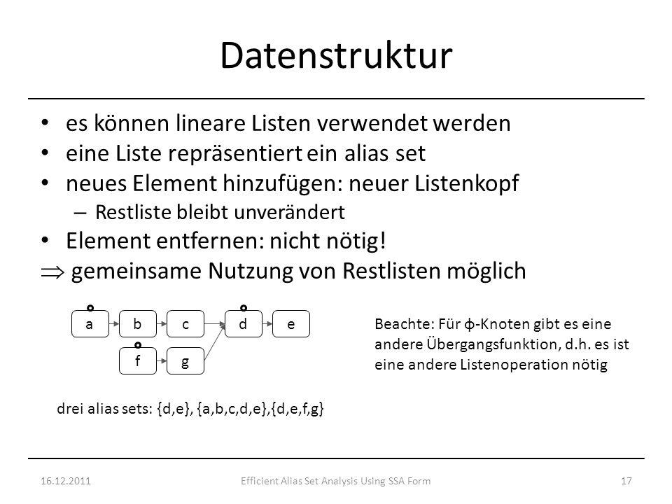 es können lineare Listen verwendet werden eine Liste repräsentiert ein alias set neues Element hinzufügen: neuer Listenkopf – Restliste bleibt unverändert Element entfernen: nicht nötig.