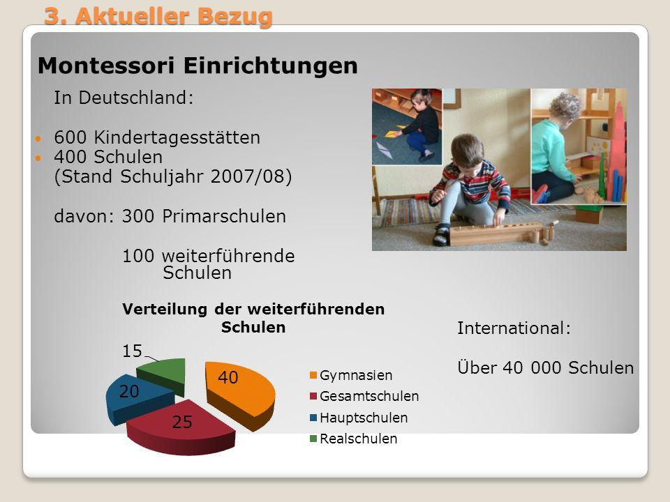 3. Aktueller Bezug Montessori Einrichtungen In Deutschland: 600 Kindertagesstätten 400 Schulen (Stand Schuljahr 2007/08) davon: 300 Primarschulen 100