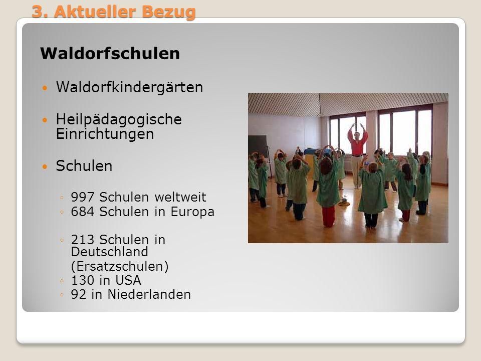 3. Aktueller Bezug Waldorfschulen Waldorfkindergärten Heilpädagogische Einrichtungen Schulen 997 Schulen weltweit 684 Schulen in Europa 213 Schulen in