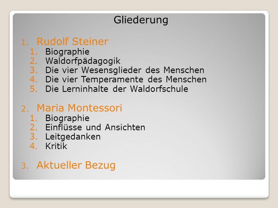 Gliederung 1. Rudolf Steiner 1.Biographie 2.Waldorfpädagogik 3.Die vier Wesensglieder des Menschen 4.Die vier Temperamente des Menschen 5.Die Lerninha