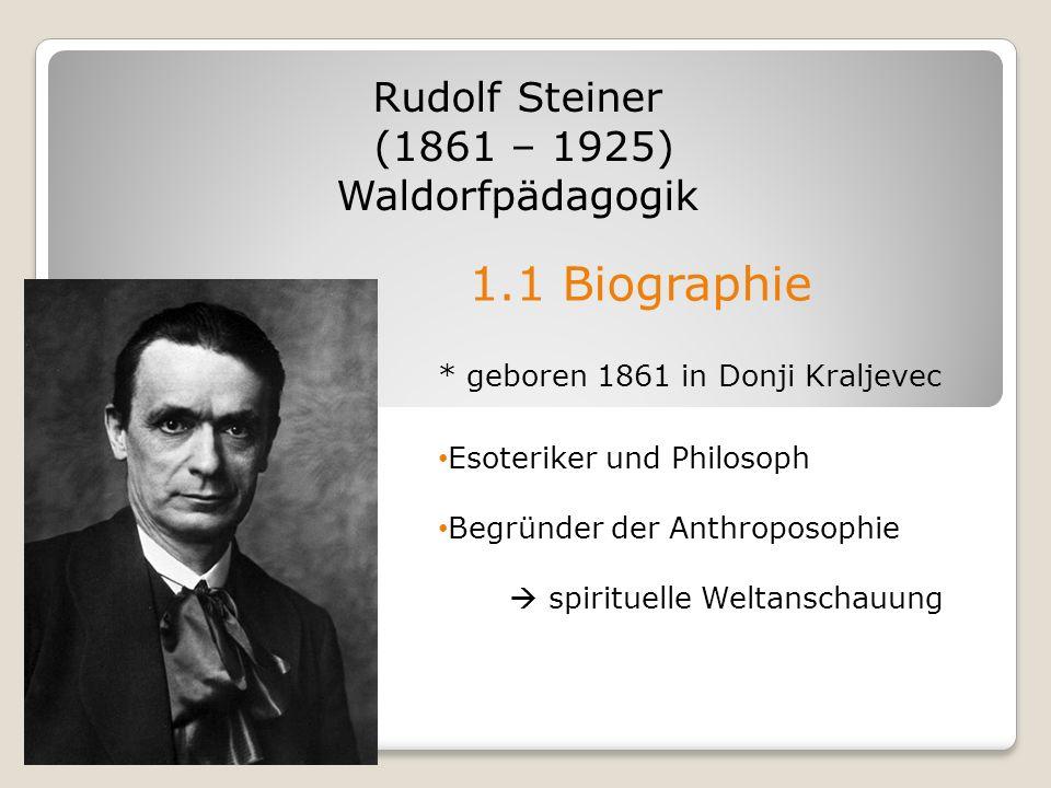1.1 Biographie Rudolf Steiner (1861 – 1925) Waldorfpädagogik * geboren 1861 in Donji Kraljevec Esoteriker und Philosoph Begründer der Anthroposophie s