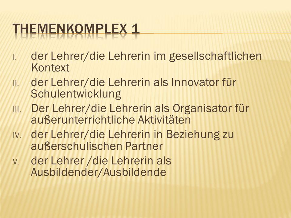 VI.Der Lehrer/die Lehrerin als Lernender/Lernende VII.