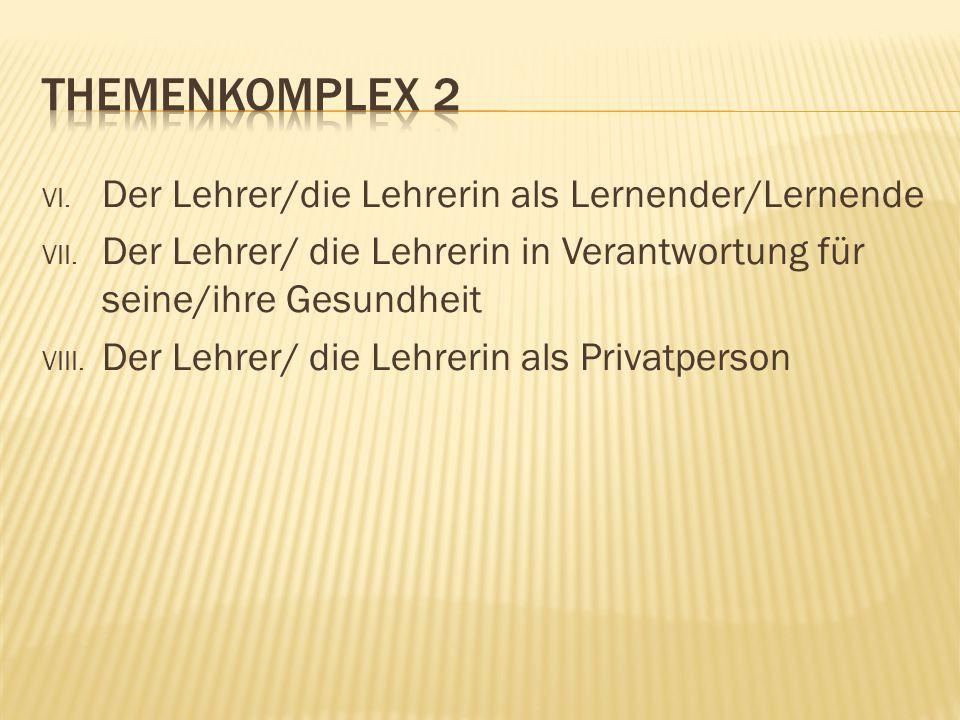VI. Der Lehrer/die Lehrerin als Lernender/Lernende VII.
