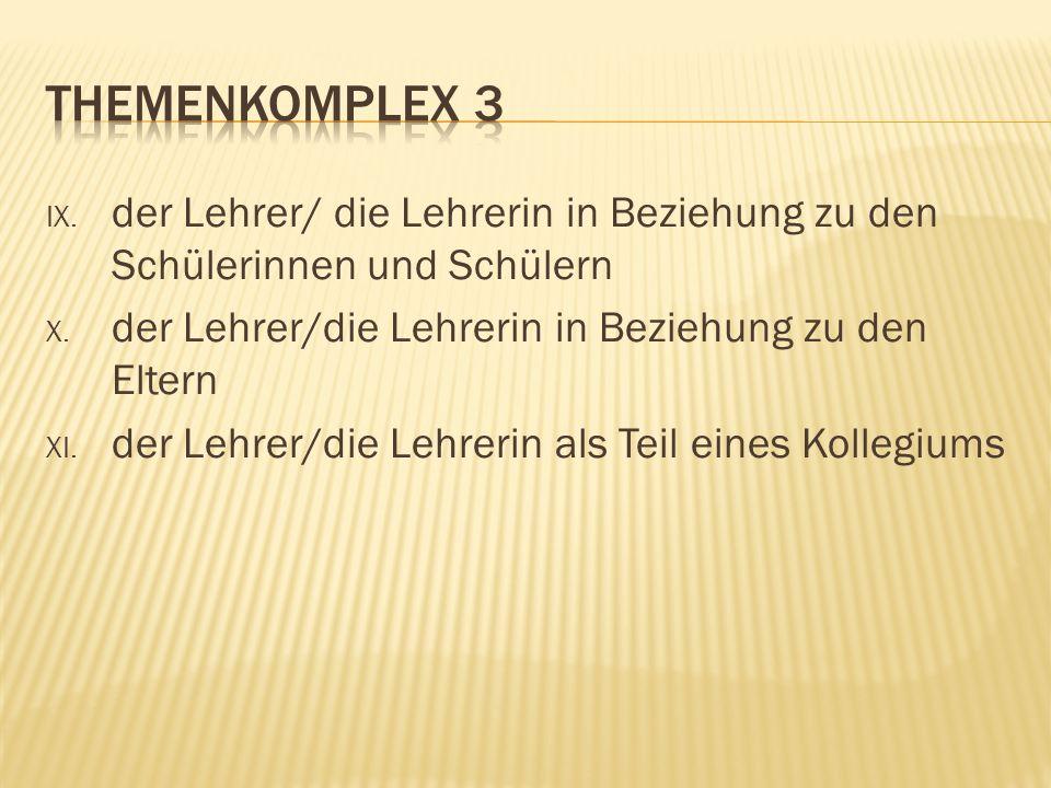 IX. der Lehrer/ die Lehrerin in Beziehung zu den Schülerinnen und Schülern X.