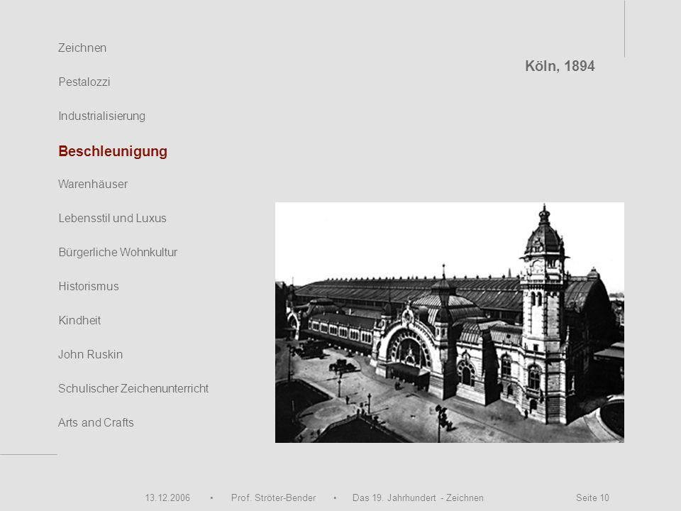 13.12.2006 Prof. Ströter-Bender Das 19. Jahrhundert - Zeichnen Seite 10 Zeichnen Pestalozzi Industrialisierung Beschleunigung Warenhäuser John Ruskin