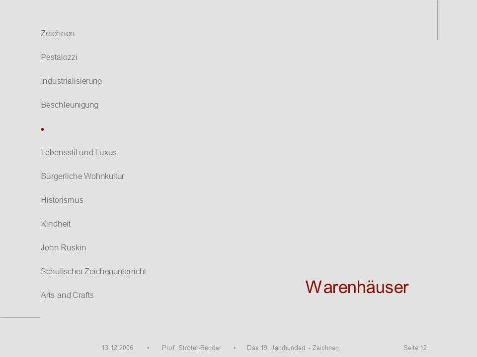 13.12.2006 Prof. Ströter-Bender Das 19. Jahrhundert - Zeichnen Seite 12 Warenhäuser Zeichnen Pestalozzi Industrialisierung Beschleunigung John Ruskin