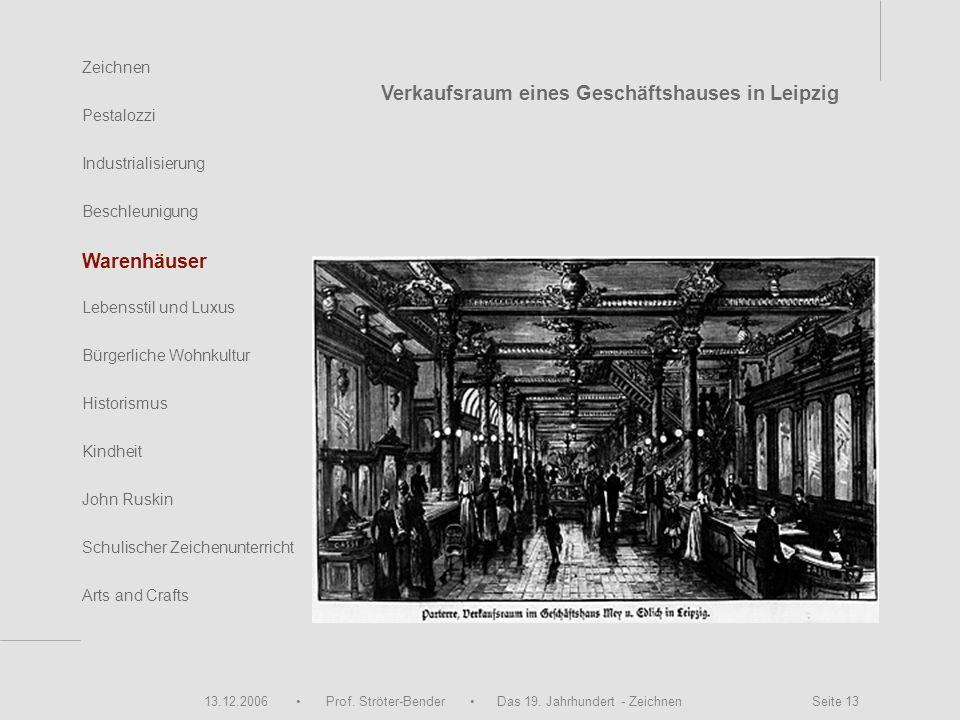 13.12.2006 Prof. Ströter-Bender Das 19. Jahrhundert - Zeichnen Seite 13 Zeichnen Pestalozzi Industrialisierung Beschleunigung Warenhäuser John Ruskin