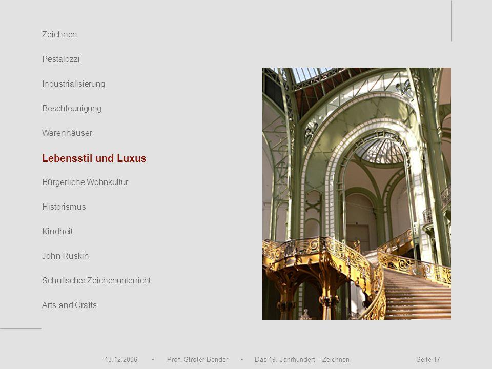 13.12.2006 Prof. Ströter-Bender Das 19. Jahrhundert - Zeichnen Seite 17 Zeichnen Pestalozzi Industrialisierung Beschleunigung Warenhäuser John Ruskin