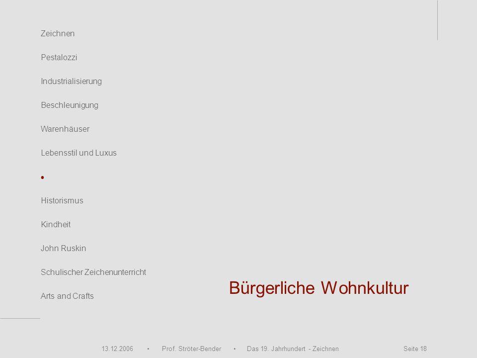 13.12.2006 Prof. Ströter-Bender Das 19. Jahrhundert - Zeichnen Seite 18 Bürgerliche Wohnkultur Zeichnen Pestalozzi Industrialisierung Beschleunigung W