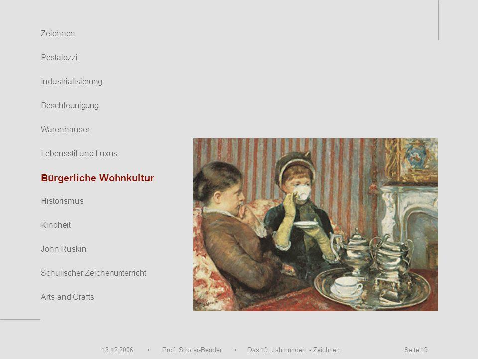 13.12.2006 Prof. Ströter-Bender Das 19. Jahrhundert - Zeichnen Seite 19 Zeichnen Pestalozzi Industrialisierung Beschleunigung Warenhäuser John Ruskin