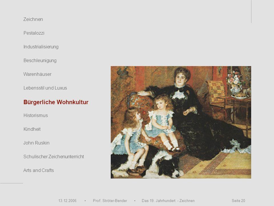 13.12.2006 Prof. Ströter-Bender Das 19. Jahrhundert - Zeichnen Seite 20 Zeichnen Pestalozzi Industrialisierung Beschleunigung Warenhäuser John Ruskin