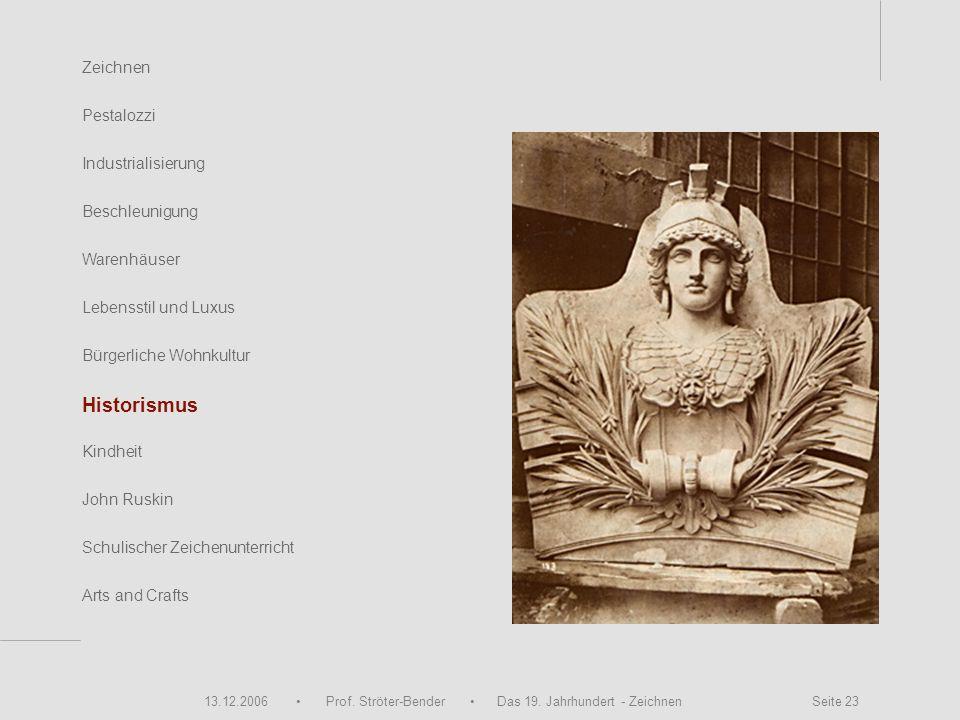 13.12.2006 Prof. Ströter-Bender Das 19. Jahrhundert - Zeichnen Seite 23 Zeichnen Pestalozzi Industrialisierung Beschleunigung Warenhäuser John Ruskin