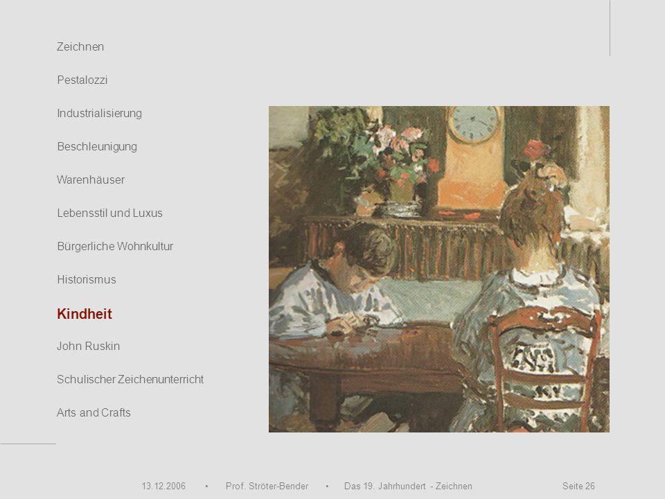 13.12.2006 Prof. Ströter-Bender Das 19. Jahrhundert - Zeichnen Seite 26 Zeichnen Pestalozzi Industrialisierung Beschleunigung Warenhäuser John Ruskin