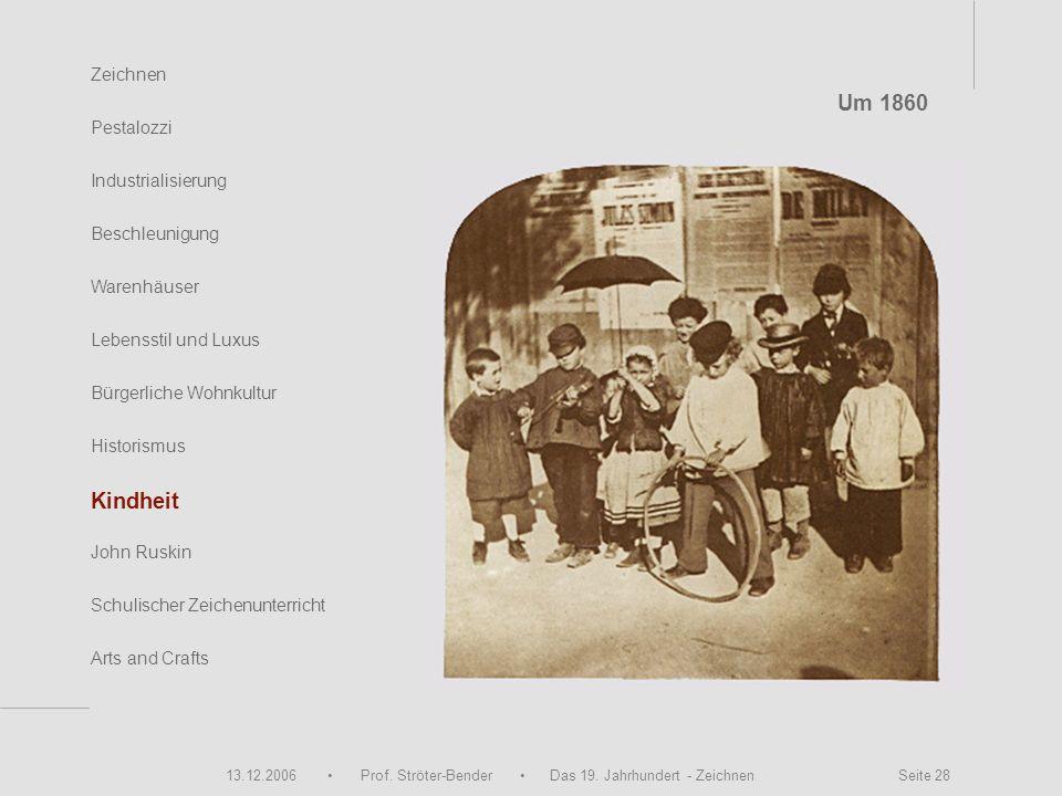 13.12.2006 Prof. Ströter-Bender Das 19. Jahrhundert - Zeichnen Seite 28 Zeichnen Pestalozzi Industrialisierung Beschleunigung Warenhäuser John Ruskin