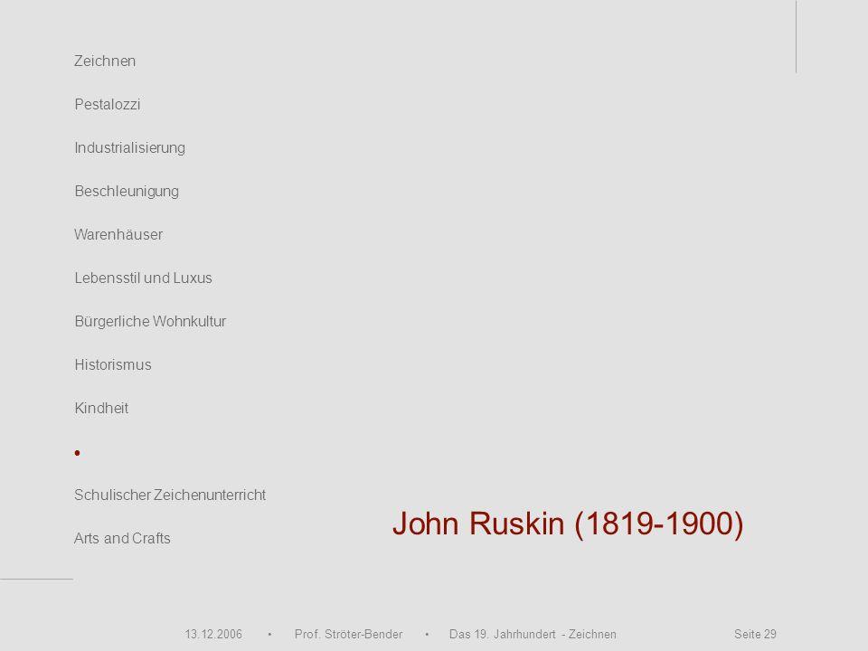 13.12.2006 Prof. Ströter-Bender Das 19. Jahrhundert - Zeichnen Seite 29 John Ruskin (1819-1900) Zeichnen Pestalozzi Industrialisierung Beschleunigung
