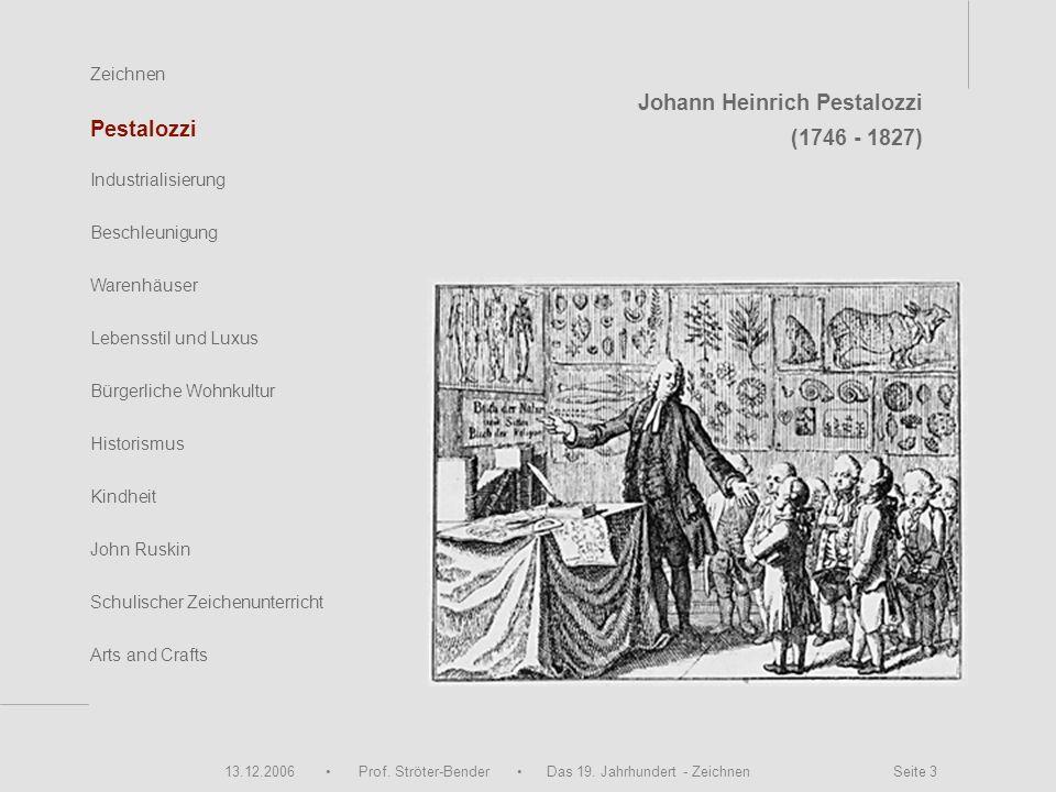 13.12.2006 Prof. Ströter-Bender Das 19. Jahrhundert - Zeichnen Seite 3 Zeichnen Pestalozzi Industrialisierung Beschleunigung Warenhäuser John Ruskin S
