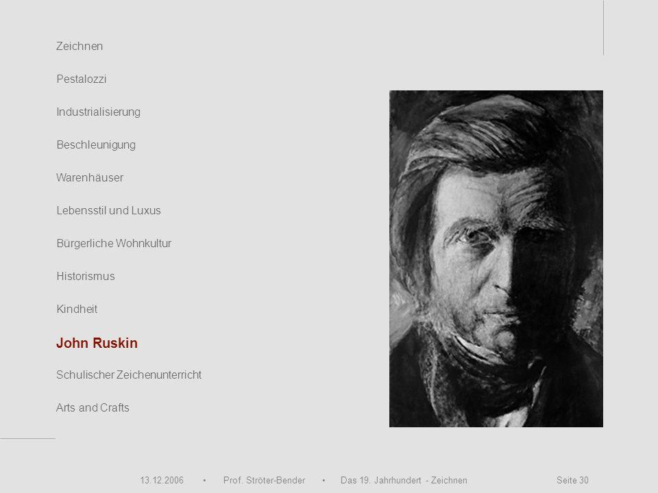 13.12.2006 Prof. Ströter-Bender Das 19. Jahrhundert - Zeichnen Seite 30 Zeichnen Pestalozzi Industrialisierung Beschleunigung Warenhäuser John Ruskin
