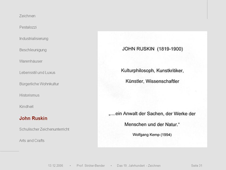 13.12.2006 Prof. Ströter-Bender Das 19. Jahrhundert - Zeichnen Seite 31 Zeichnen Pestalozzi Industrialisierung Beschleunigung Warenhäuser John Ruskin