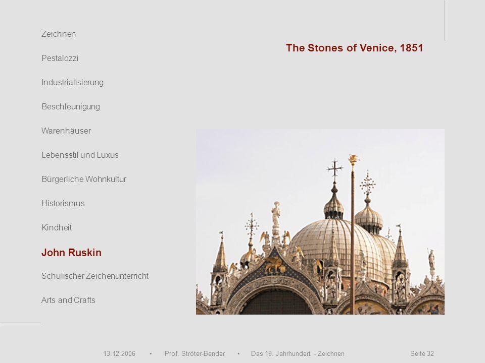 13.12.2006 Prof. Ströter-Bender Das 19. Jahrhundert - Zeichnen Seite 32 Zeichnen Pestalozzi Industrialisierung Beschleunigung Warenhäuser John Ruskin
