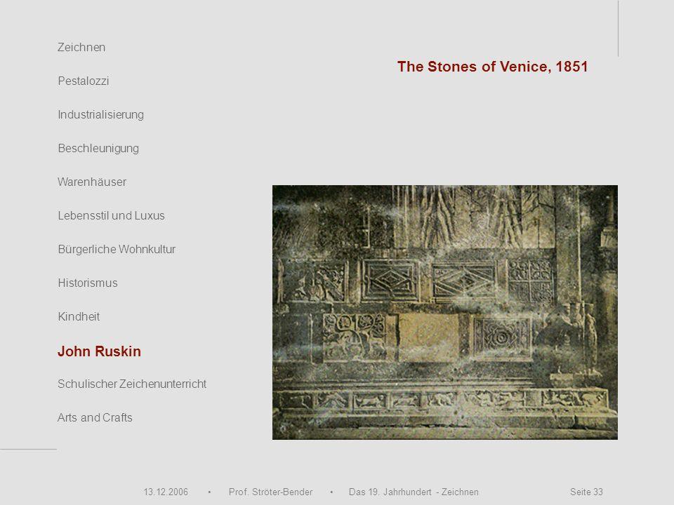 13.12.2006 Prof. Ströter-Bender Das 19. Jahrhundert - Zeichnen Seite 33 Zeichnen Pestalozzi Industrialisierung Beschleunigung Warenhäuser Schulischer
