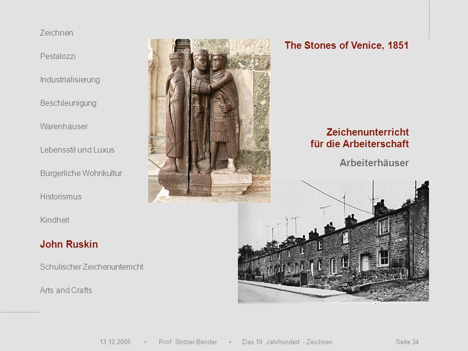 13.12.2006 Prof. Ströter-Bender Das 19. Jahrhundert - Zeichnen Seite 34 Zeichnen Pestalozzi Industrialisierung Beschleunigung Warenhäuser Schulischer