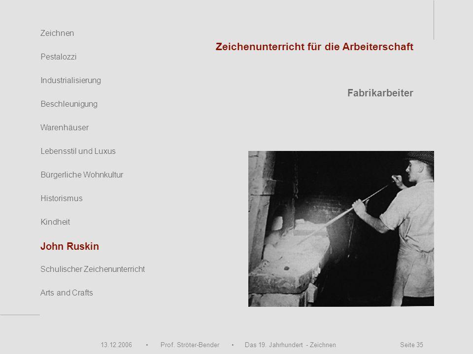 13.12.2006 Prof. Ströter-Bender Das 19. Jahrhundert - Zeichnen Seite 35 Zeichnen Pestalozzi Industrialisierung Beschleunigung Warenhäuser John Ruskin