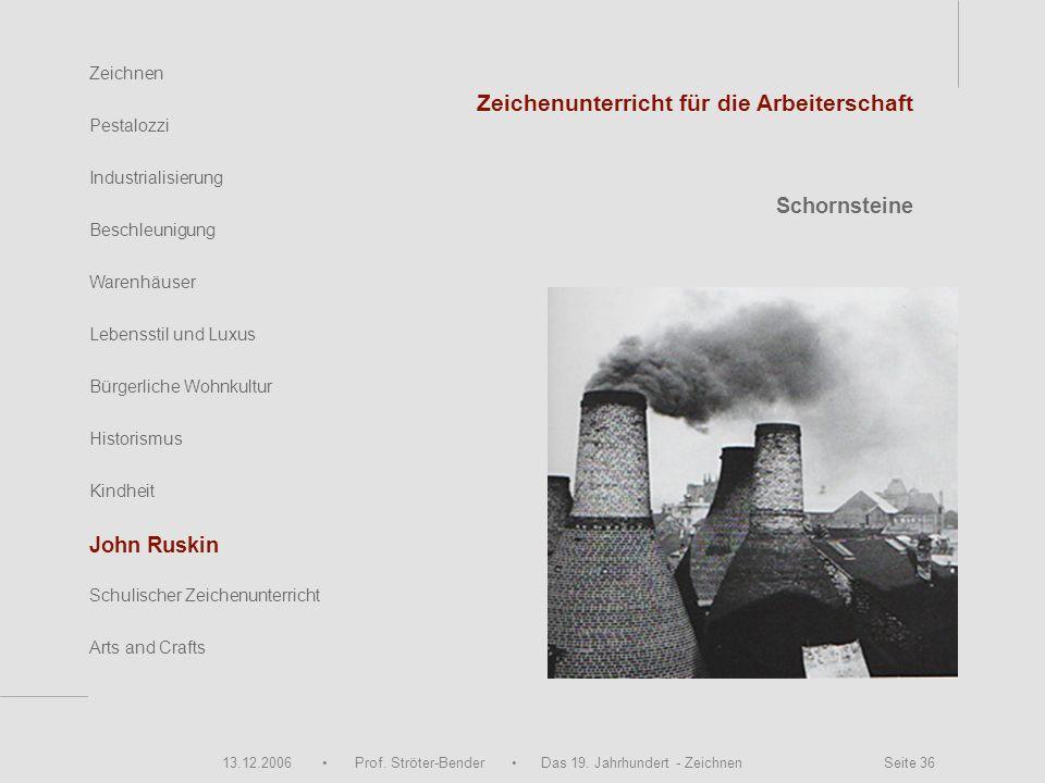 13.12.2006 Prof. Ströter-Bender Das 19. Jahrhundert - Zeichnen Seite 36 Zeichnen Pestalozzi Industrialisierung Beschleunigung Warenhäuser John Ruskin
