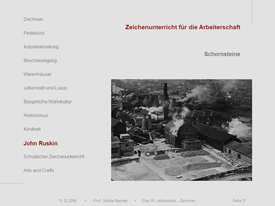13.12.2006 Prof. Ströter-Bender Das 19. Jahrhundert - Zeichnen Seite 37 Zeichnen Pestalozzi Industrialisierung Beschleunigung Warenhäuser John Ruskin