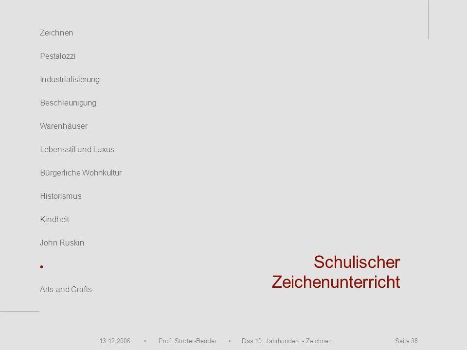 13.12.2006 Prof. Ströter-Bender Das 19. Jahrhundert - Zeichnen Seite 38 Zeichnen Pestalozzi Industrialisierung Beschleunigung Warenhäuser John Ruskin