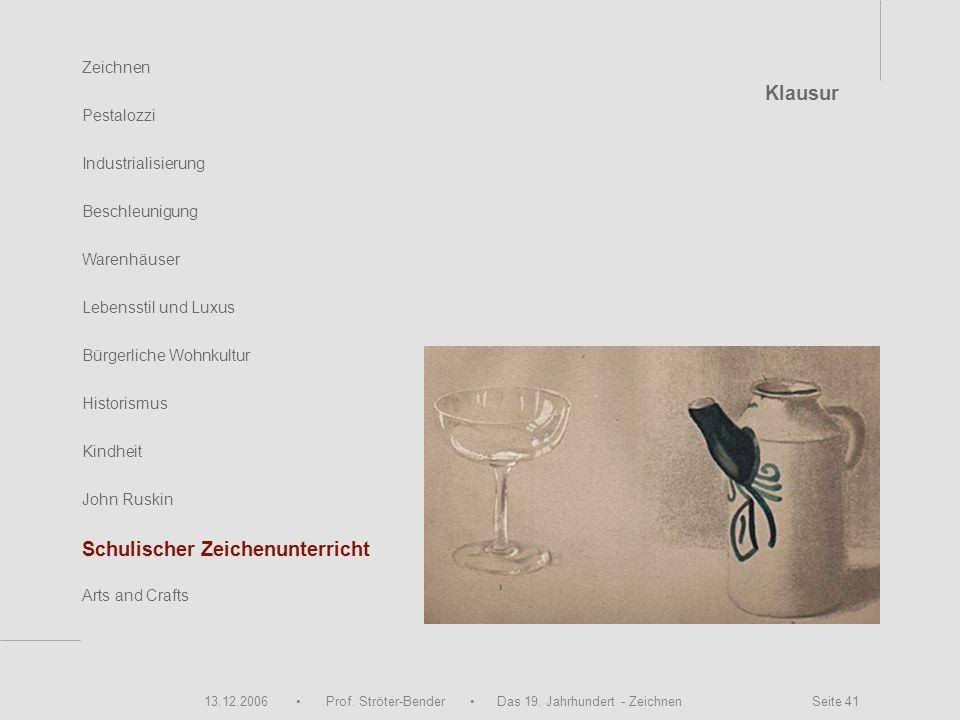13.12.2006 Prof. Ströter-Bender Das 19. Jahrhundert - Zeichnen Seite 41 Zeichnen Pestalozzi Industrialisierung Beschleunigung Warenhäuser John Ruskin