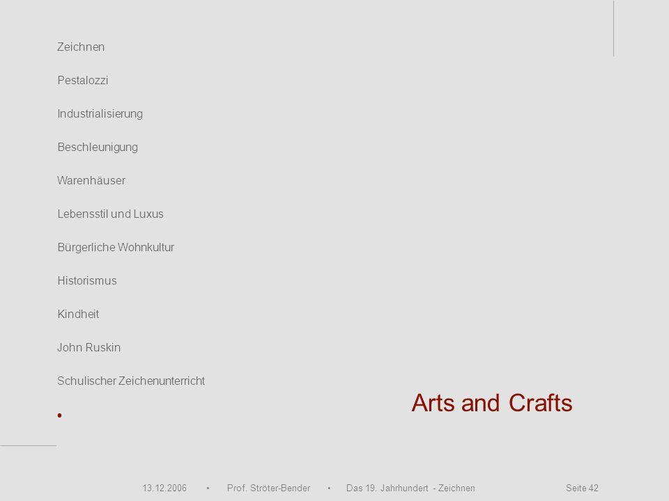 13.12.2006 Prof. Ströter-Bender Das 19. Jahrhundert - Zeichnen Seite 42 Zeichnen Pestalozzi Industrialisierung Beschleunigung Warenhäuser John Ruskin