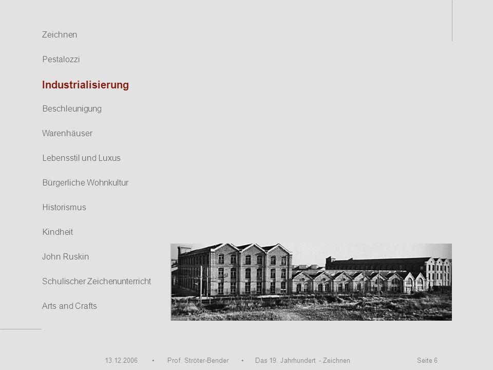 13.12.2006 Prof. Ströter-Bender Das 19. Jahrhundert - Zeichnen Seite 6 Zeichnen Pestalozzi Industrialisierung Beschleunigung Warenhäuser John Ruskin S