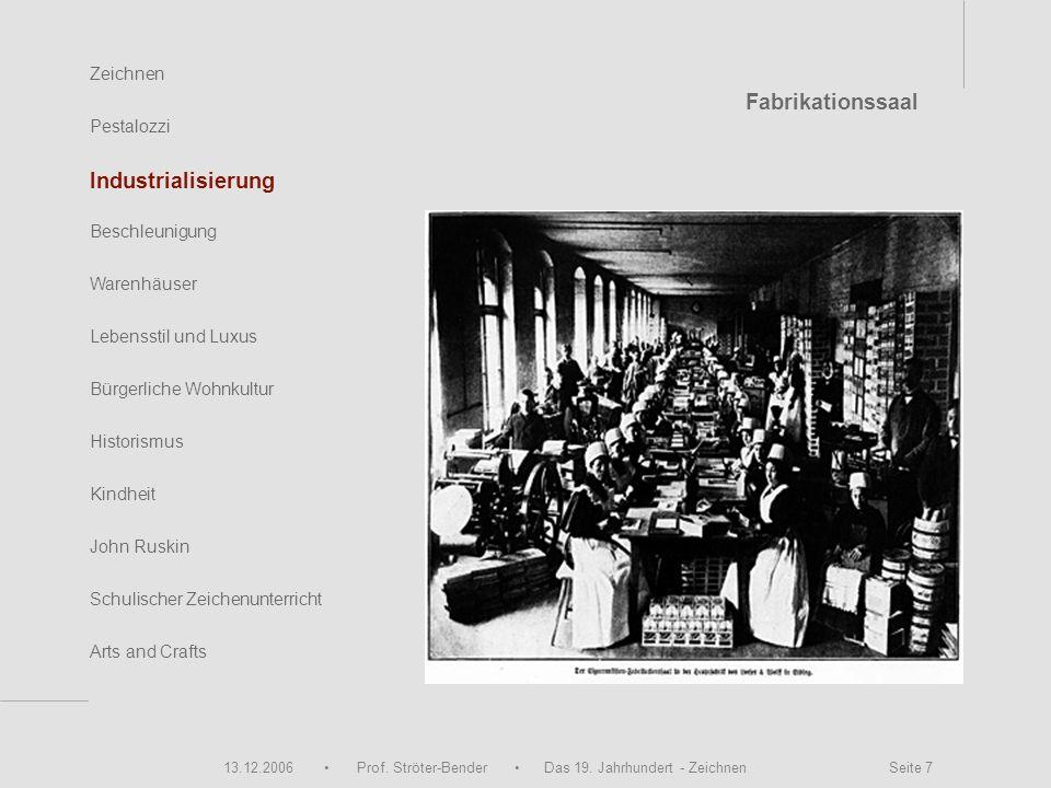 13.12.2006 Prof. Ströter-Bender Das 19. Jahrhundert - Zeichnen Seite 7 Zeichnen Pestalozzi Industrialisierung Beschleunigung Warenhäuser John Ruskin S