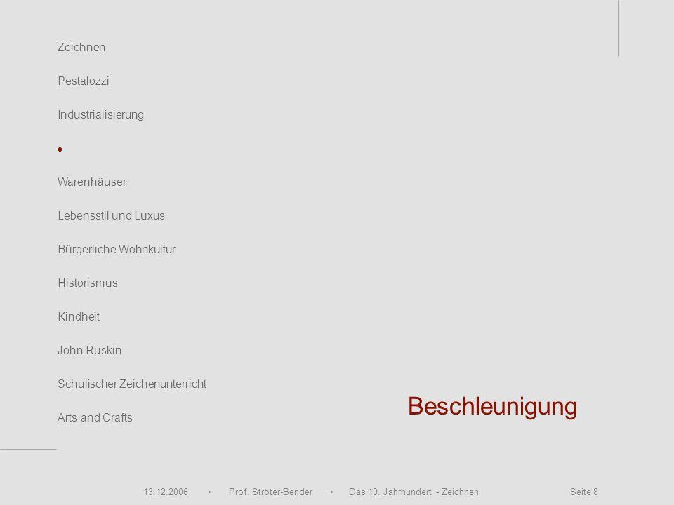 13.12.2006 Prof. Ströter-Bender Das 19. Jahrhundert - Zeichnen Seite 8 Beschleunigung Zeichnen Pestalozzi Industrialisierung Warenhäuser John Ruskin S