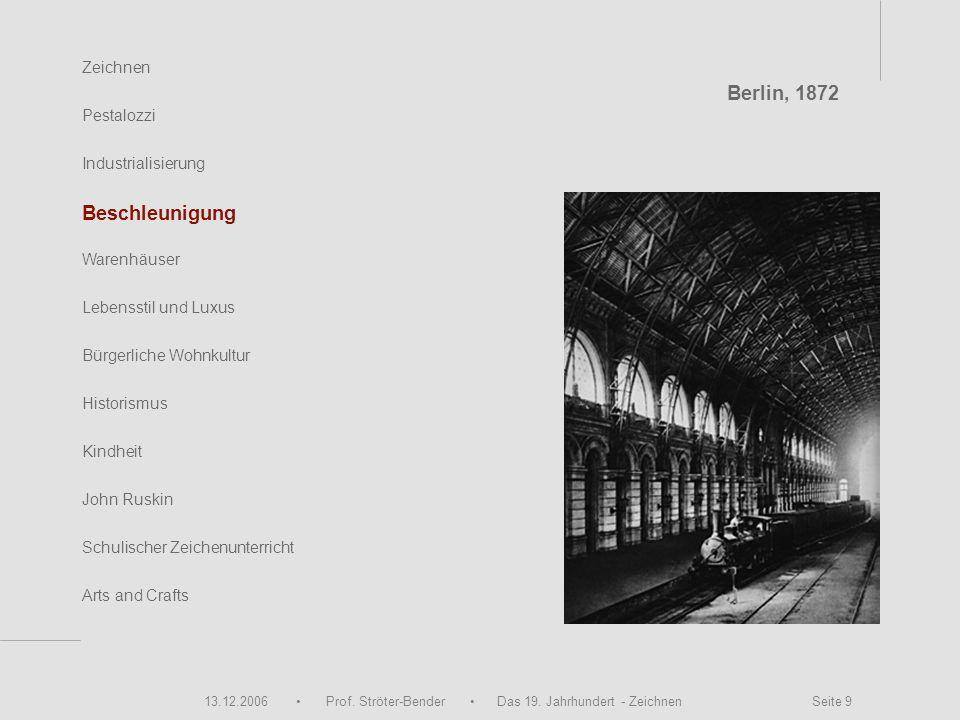13.12.2006 Prof. Ströter-Bender Das 19. Jahrhundert - Zeichnen Seite 9 Zeichnen Pestalozzi Industrialisierung Beschleunigung Warenhäuser John Ruskin S
