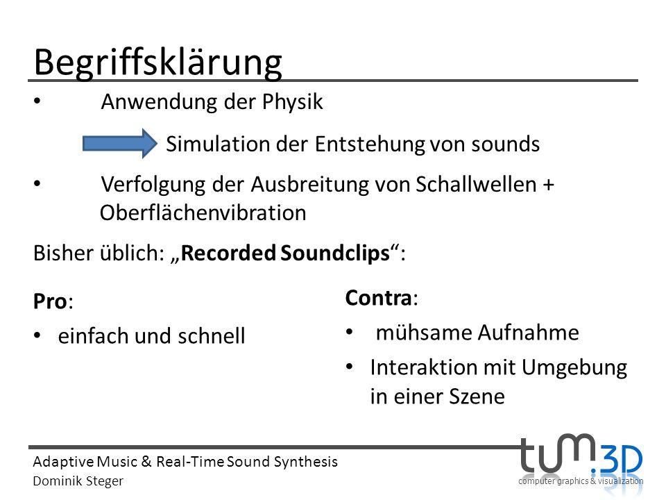 computer graphics & visualization Adaptive Music & Real-Time Sound Synthesis Dominik Steger Begriffsklärung Pro: einfach und schnell Contra: mühsame A
