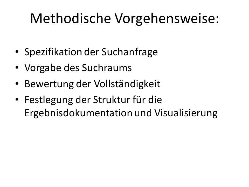 Methodische Vorgehensweise: Spezifikation der Suchanfrage Vorgabe des Suchraums Bewertung der Vollständigkeit Festlegung der Struktur für die Ergebnisdokumentation und Visualisierung