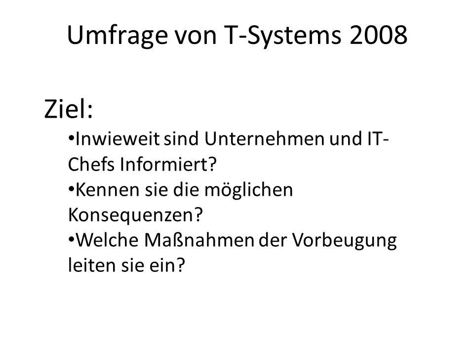 Umfrage von T-Systems 2008 Ziel: Inwieweit sind Unternehmen und IT- Chefs Informiert? Kennen sie die möglichen Konsequenzen? Welche Maßnahmen der Vorb